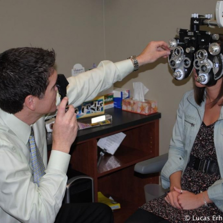 Eye exam to determine the best eyeglasses prescription.