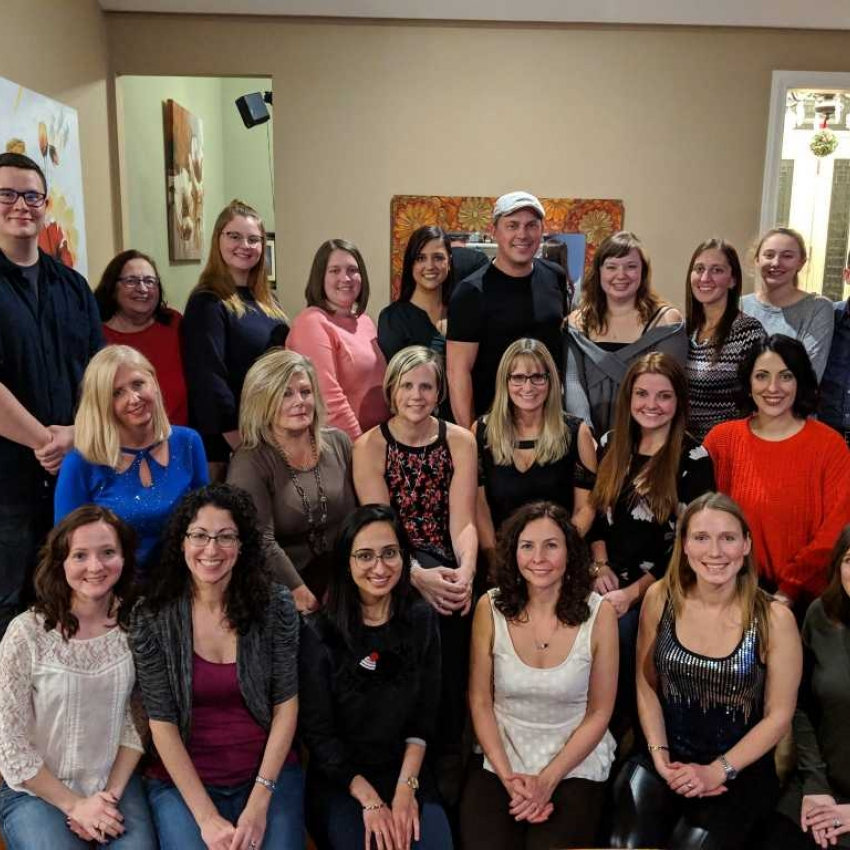 Back Right to Left:  Avery, Barb, Kaiden, Chrissy, Lauren, Matt, Brittany, Susan, Kaitlyn and Bryan.  Middle Left to Right:  Lisa, Kim, Tracy, Elaine. Alyssa and Victoria.  Bottom Left to Right:  Jennifer, Martina, Janki, Jane, Katie and Janel
