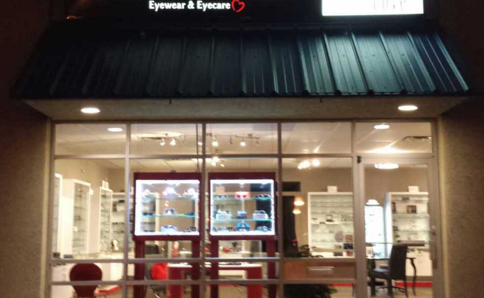 Eyeglasses and sunglasses display at Eyes on Tecumseh and Sunglass Cove