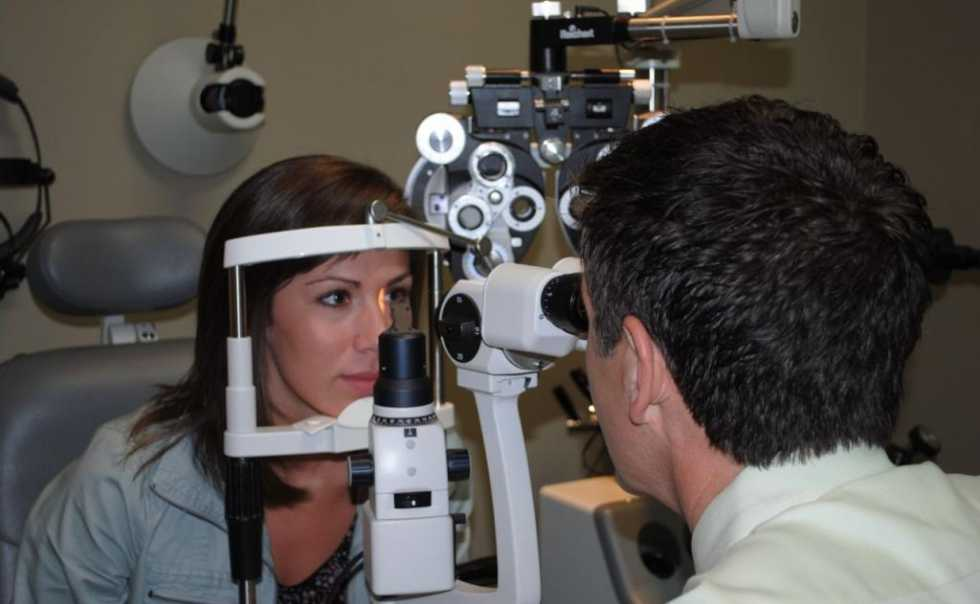 Biomicroscopy to examine the health of the eyes.