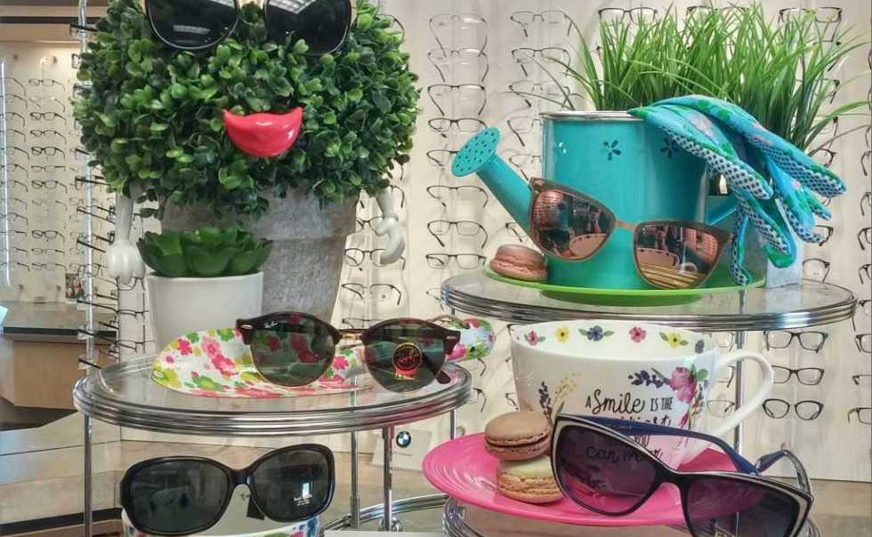 Spring sunglasses display at Pierce Family Vision