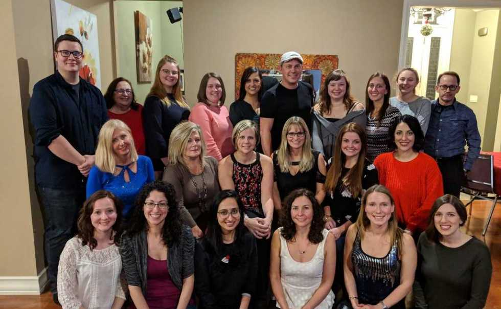 Back Right to Left:  Avery, Barb, Kaiden, Chrissy, Lauren, Matt, Brittany, Susa, Kaitlyn and Bryan.  Middle Left to Right:  Lisa, Kim, Tracy, Elaine. Alyssa and Victoria.  Bottom Left to Right:  Jennifer, Martina, Janki, Jane, Katie and Janel