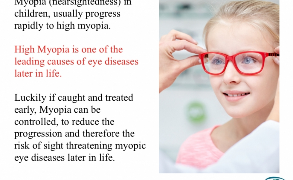Myopia (Nearsightedness) in children could be controlled to reduce the progression and related eye diseases later in life.